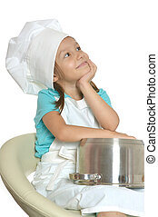 Little girl in chef uniform