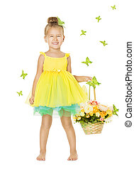 Little Girl in Children Dress with Basket, Happy Smiling Kid in
