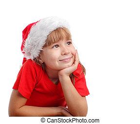 Little girl in christmas hat