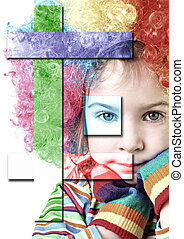 little girl in clown wig and multicolored gloves looking at camera, chin on hands, half body, isolated collage