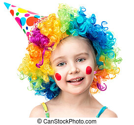 Little girl in clown wig isolated on a white background