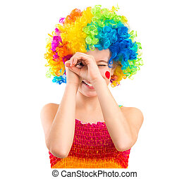 Little girl in clown wig isolated on white background