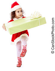 Little girl in costume of Santa Claus