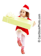 Little girl in costume of Santa Claus with gift