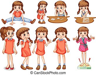 Little girl in different actions illustration