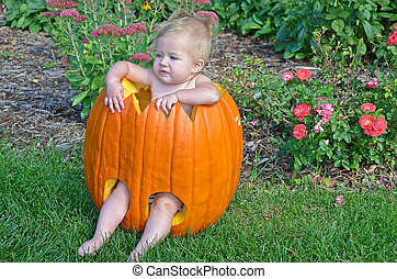 little girl in fall pumpkin