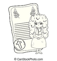 little girl in first communion card