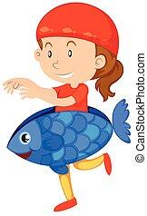 Little girl in fish costume