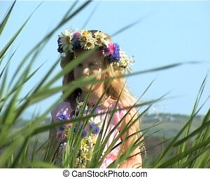 girl in flowers wreath - little girl in flowers wreath on...