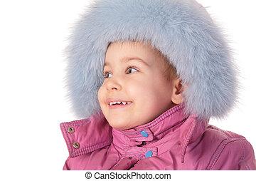 little girl in furry hat