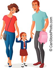 Little girl in going to school with parents . Vector illustration .