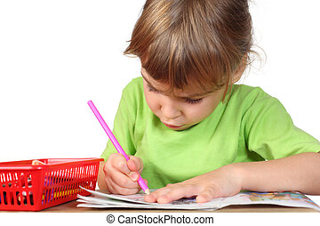 little girl in green shirt painting in notebook, pink pencil in hand, half body, isolated