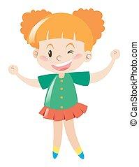 Little girl in green shirt smiling illustration