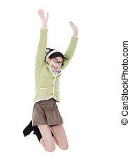 Little girl in green sweater jumping for joy