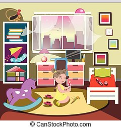Little girl in her bedroom