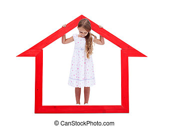 Little girl in her home