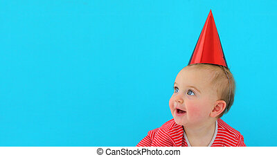little girl in holiday cap