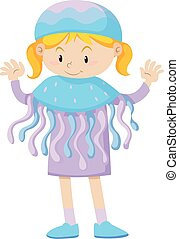 Little girl in jellyfish costume
