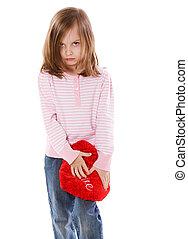 Girl in love - Little Girl in love holding heart isolated on...