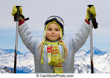 little girl in mountains