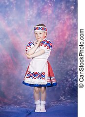 little girl in national russian costume
