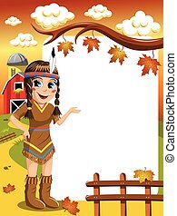 Little Girl in Native American Indian Costume Presenting...