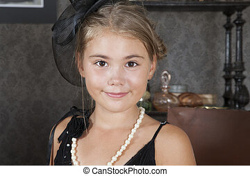 Little girl in old-fashion dress