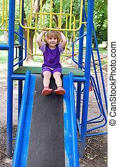little girl in park playground