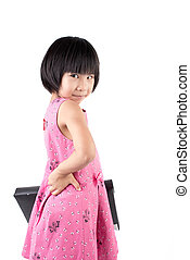 Little girl in pink dress with briefcase isolated on white background
