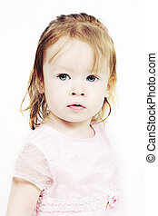 Little Girl in pink dress with white background