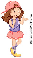 Little girl in pink skirt and hat