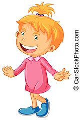 Little girl in pink with happy face