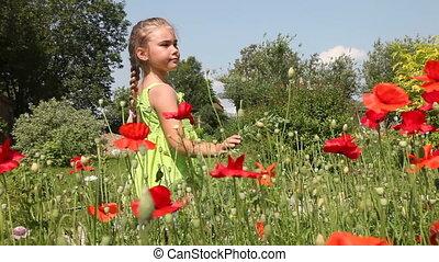 Little girl in poppy field