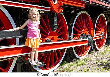 little girl in railway museum, Koscierzyna, Pomerania,...