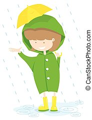 Little Girl In Rainy Day.