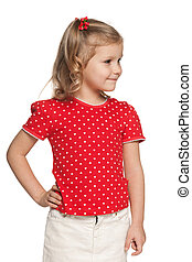 Little girl in red blouse