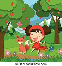 Little girl in red dress and a wolf