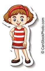 Little girl in red dress cartoon character sticker