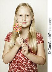Little girl in red dress, portrait