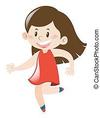 Little girl in red dress runs