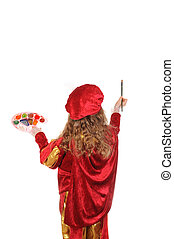 Little girl in red historical suit with a paintbrush, rear view. Isolated on white