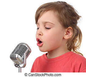 little girl in red shirt singing in microphone, half body,...