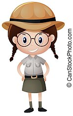 Little girl in safari outfit