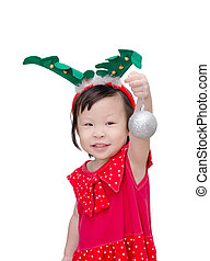 Little girl in santa claus costume
