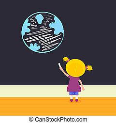 Little girl in school painting Earth on the black board