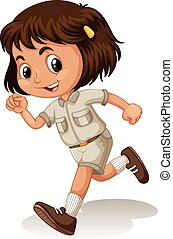 Little girl in scout uniform illustration