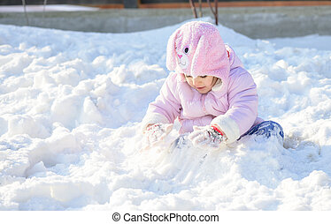 Little girl in snow