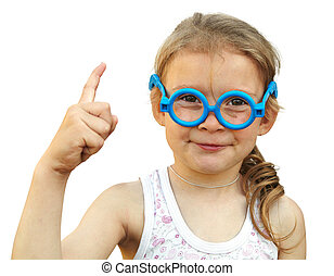 Little girl in spectacles on white background. Emotion