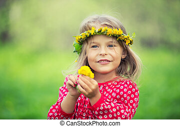 Little girl in spring park