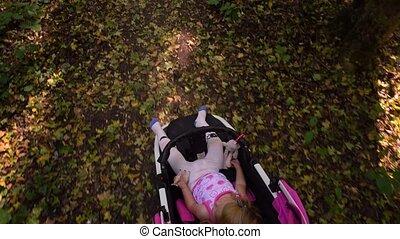 Little girl in stroller. Top view - Little girl sitting in...